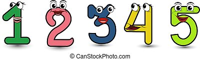 Funny hand drawn cartoon styled alphabet font colorful numbers 1 2 3 4 5 set with smiling faces vector alphabet illustration isolated on white