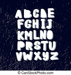 Funny hand drawn childish alphabet in scandinavian style.