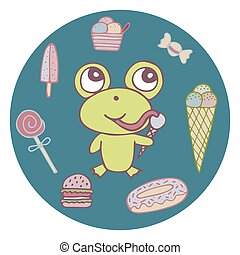 Funny hand-drawn frog the sweet tooth with ice cream and candies