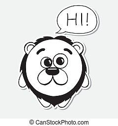 Funny hand drawn lion in cartoon style. Cloud overhead with text Hi. Vector illustration of a sketch style.