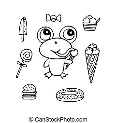 Funny hand-drawn monochrome frog the sweet tooth with ice cream and candies