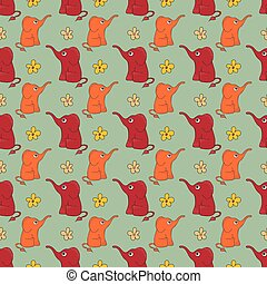 Funny hand-drawn seamless pattern with cute elephants and flowers.