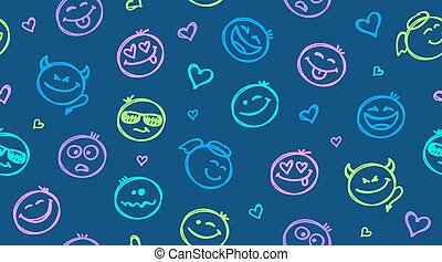 funny hand drawn smiles seamless pattern