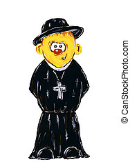 funny hand painted priest on white background - illustration