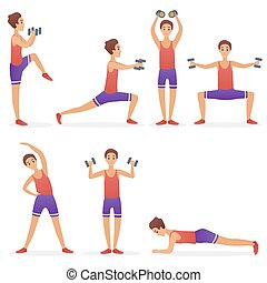 Funny handsome man exercising various different training fitness sport gym poses exercises set vector illustration.
