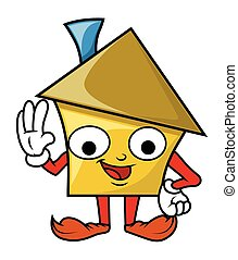 Funny Happy Cartoon House Character