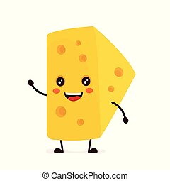 Funny happy cute smiling cheese. Vector
