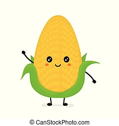 Funny happy cute smiling corncob. Vector