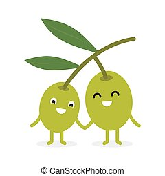 Funny happy cute smiling olives