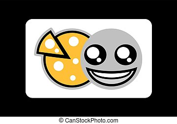 funny happy face eating pizza symbol