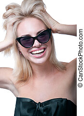 Funny happy girl with sun glasses