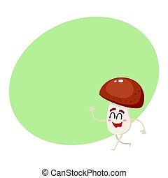 Funny, happy porcini mushroom character with smiling human face walking