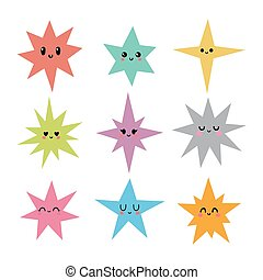 Funny happy smiley stars in kawaii style. Cute cartoon characters for kids. Hand drawn stars with different emotions