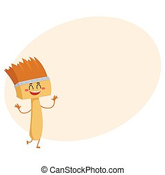 Funny happy smiling paint brush character, isolated vector illustration