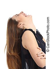 Funny happy woman laughing hilarious isolated on a white...