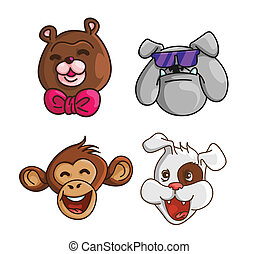 Funny Head Collection Bear,BullDog,