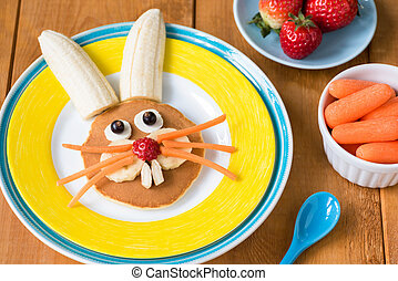 Funny healthy breakfast for kids on Easter. Easter bunny pancake on yellow plate