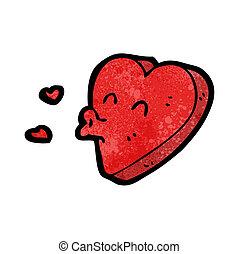 funny heart cartoon character