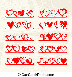 Funny hearts on shelves, sketch drawing for your design