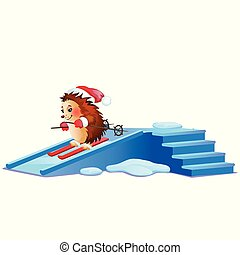 Funny hedgehog skiing on ice slides isolated on white background. Sample of poster, party holiday invitation, festive banner, card. Vector cartoon close-up illustration.