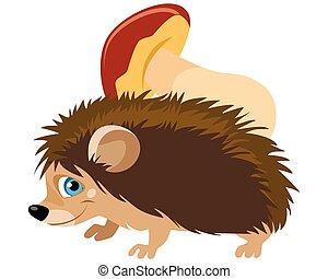 Funny hedgehog with mushroom