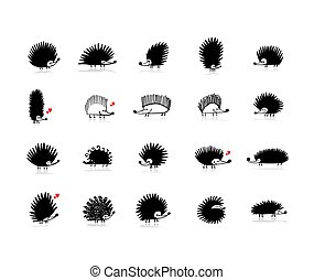 Funny hedgehogs collection, black silhouette for your design