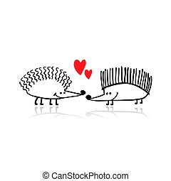 Funny hedgehogs in love, black silhouette for your design....