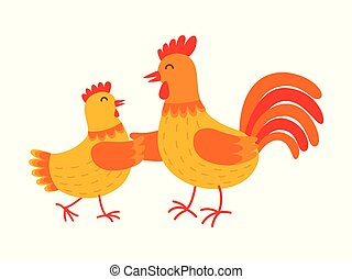 Funny hen and rooster are dancing vector flat illustration isolated on white background. Cute orange hen and rooster cartoon characters.