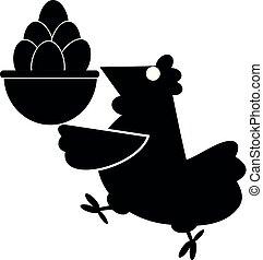 Funny hen holds a basket full of eggs illustration