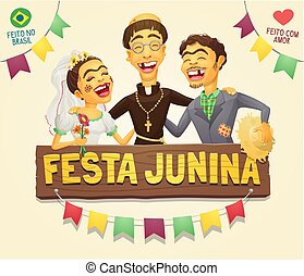 Funny hick couple with catholic priest brazilian June Party sign logo/header