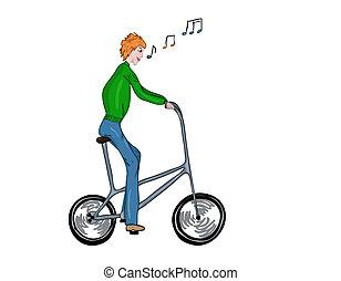 Funny high bicyclist. - Funny, high, singing bicyclist....