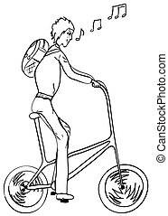 Funny, high, singing bicyclist. Vector illustration eps8
