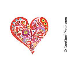 Funny hippie print with abstract heart shape