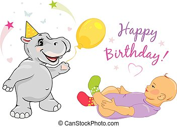 Funny hippo congratulates the baby on his birthday