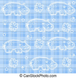 Funny hippopotamus seamless pattern vector