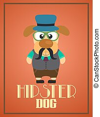 Funny hipster dog ,vector card