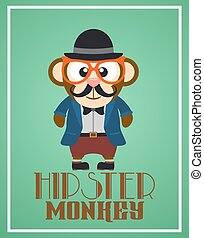 Funny hipster monkey ,vector card