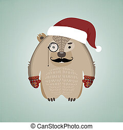 Funny hipster wombat wearing Santa's hat - Illustration of a...