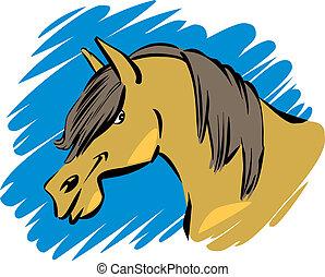 funny horse - cartoon humorous illustration of funny farm...