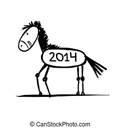 Funny horse sketch for your design. Symbol of 2014 year