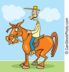 Funny horseman - Cartoon illustration of funny horseman