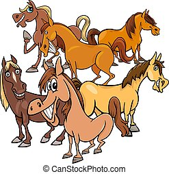 funny horses cartoon farm animals group