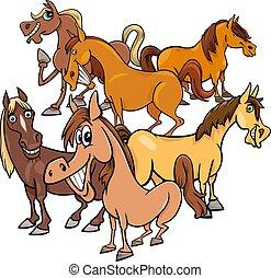 funny horses cartoon farm animals group