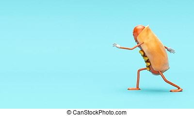 Funny hot dog character dances vigorously on the blue...