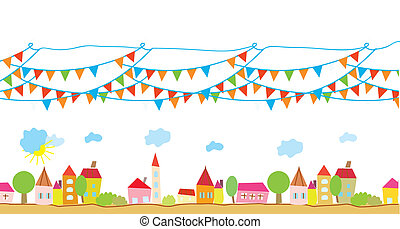 Funny house and flags background for children