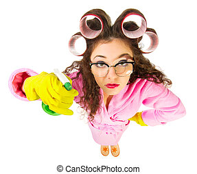 Funny housewife with nerd glasses