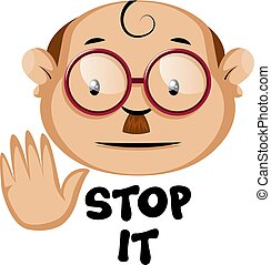 Funny human caracter with stop it sign, illustration, vector on white background.