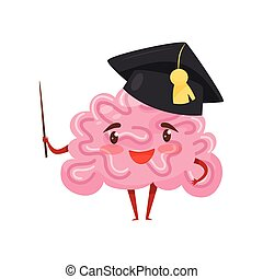 Funny humanized brain in black academic cap with pointer in hand. Cartoon character with happy face. Flat vector design
