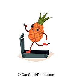 Funny humanized pineapple running on treadmill. Cartoon tropical fruit. Sport and physical activity theme. Flat vector design