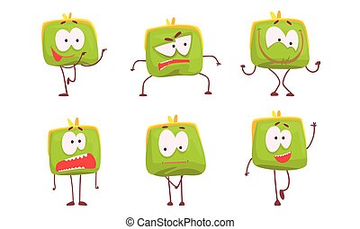 Funny Humanized Purse Collection, Green Wallet Cartoon Character with Various Emotions Vector Illustration